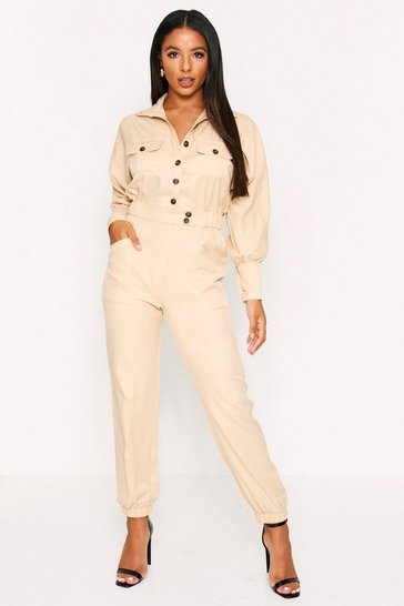 Womens Stone Button Detail Boiler Jumpsuit
