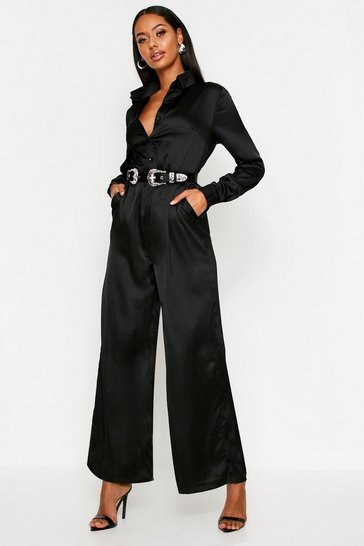 Womens Black Satin Western Belted Jumpsuit