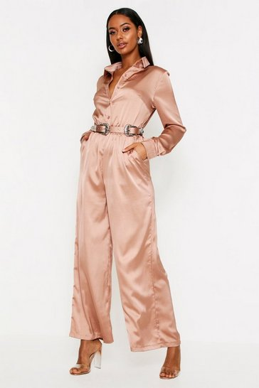 Womens Taupe Satin Western Belted Jumpsuit
