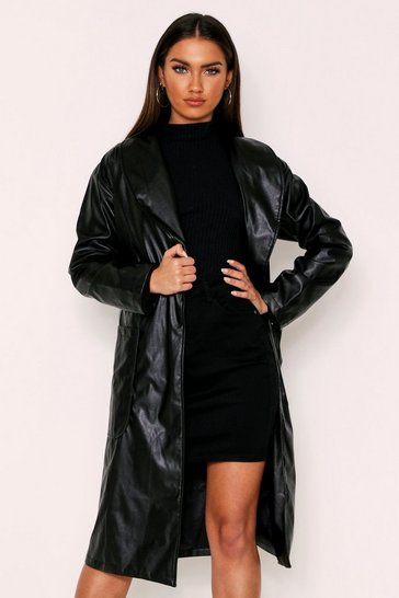 Womens Black Croc Panel Vinyl Biker Jacket