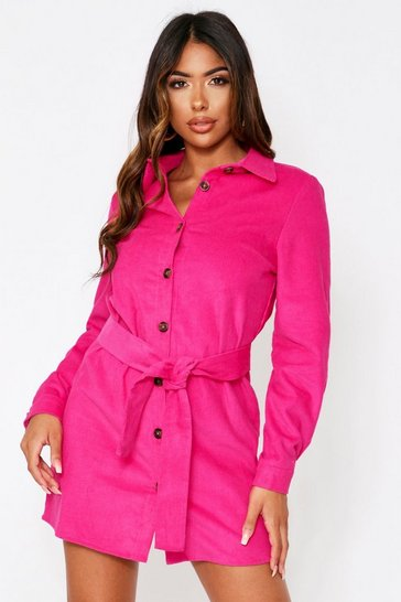 Womens Fuchsia Cord Belted Shirt Dress