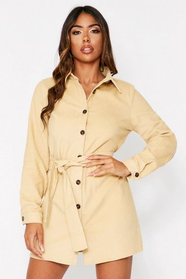 Womens Stone Cord Belted Shirt Dress