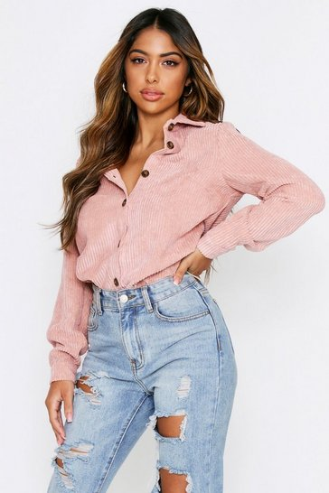 Rose pink Oversized Chunky Cord Shirt