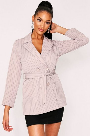 Womens Taupe Pinstripe Longline Belted Blazer