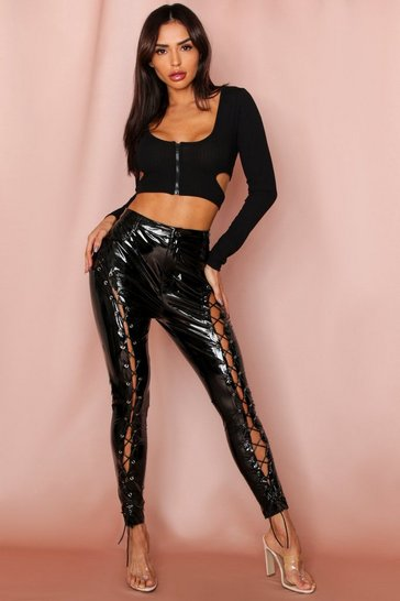 Womens Black Lace Up Front Vinyl Trousers