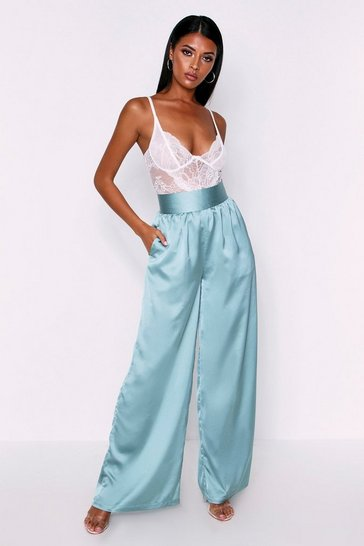 Womens Green Satin High Waisted Wide Leg Trousers