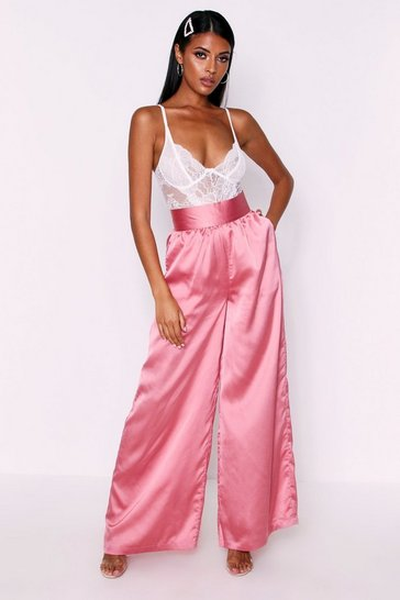 Womens Rose Satin High Waisted Wide Leg Trousers