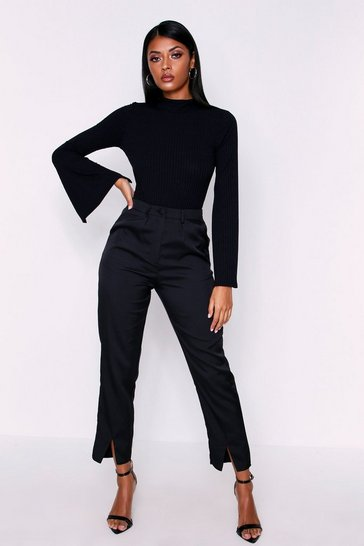 Womens Black High Waisted Woven Cigarette Trousers