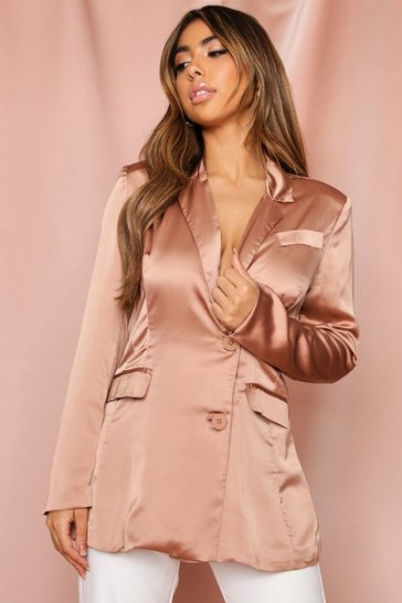 Womens Taupe Satin Structured Blazer