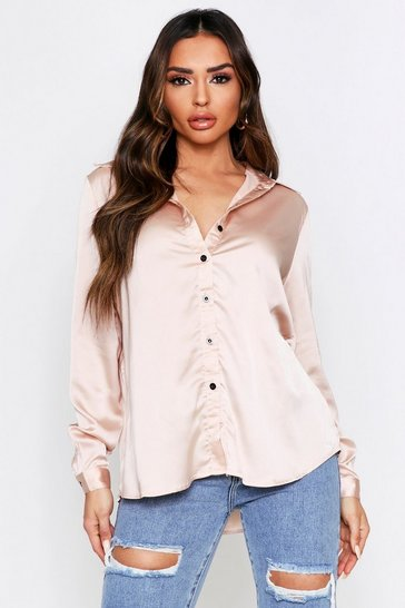 Champagne Oversized Satin Shirt