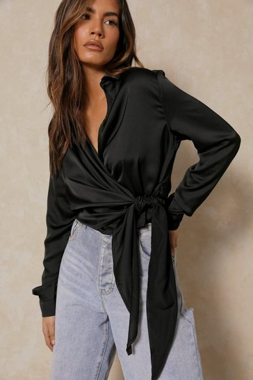 Womens Black Satin Tie Front Wrap Shirt