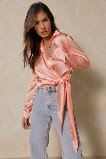 Peach Satin Tie Front Wrap Shirt