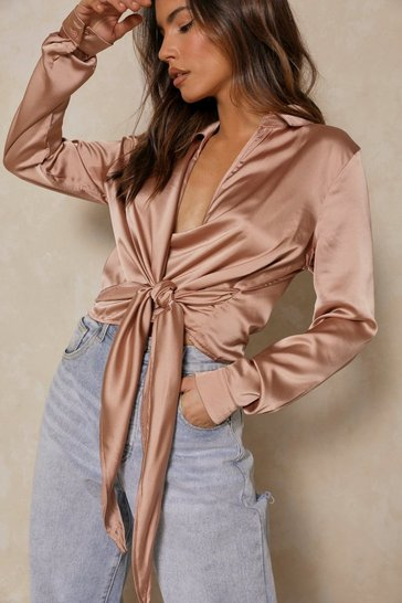 Womens Taupe Satin Tie Front Wrap Shirt