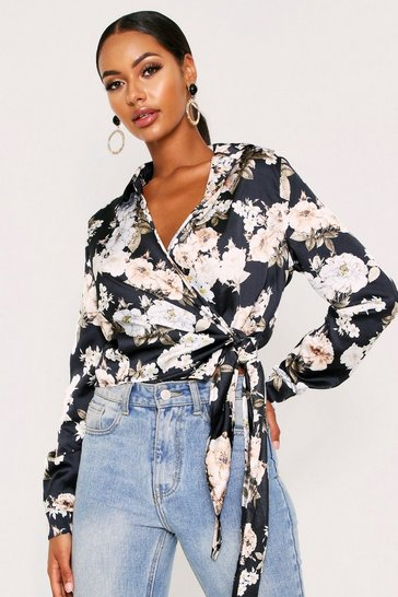 Womens Floral Tie Front Wrap Shirt