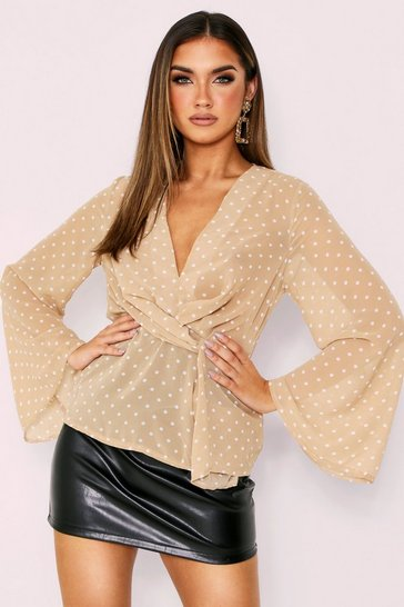 Womens Nude Polka Dot Sheer Twist Front Blouse