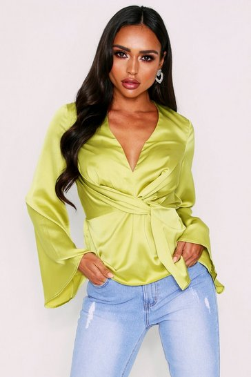 Womens Lime Satin Twist Front Long Sleeve Blouse