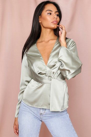 Khaki Twist Front Long Sleeve Blouse