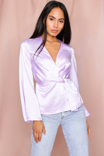 Lilac Twist Front Long Sleeve Blouse