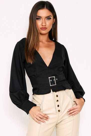 Black Belted Balloon Sleeve Blouse