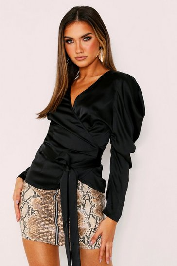 Womens Black Puff Shoulder Satin Wrap Top