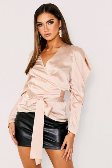 Womens Champagne Puff Shoulder Satin Wrap Top