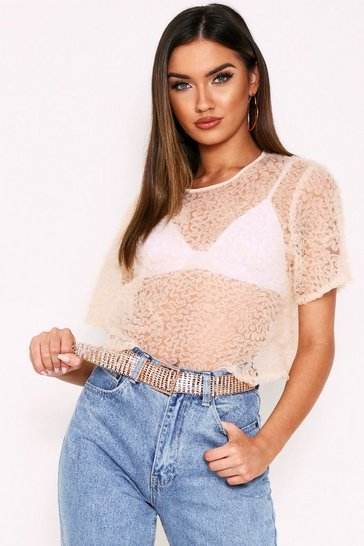 Womens Nude Frill Detail Mesh Crop Top