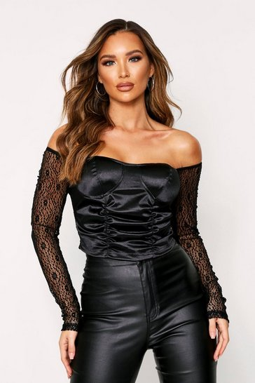 Black Satin Ruched Bustier Top