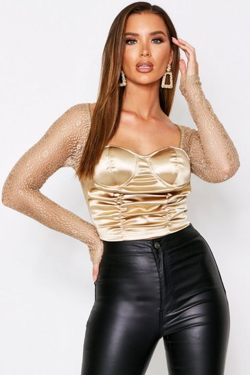 Womens Gold Satin Ruched Bustier Top