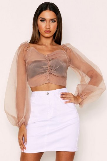 Taupe Organza Button Front Sheer Blouse
