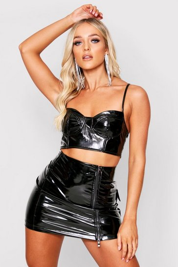 Womens Black Vinyl Cup Detail Crop Top