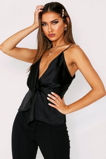 Womens Black Satin Twist Front Cami Top
