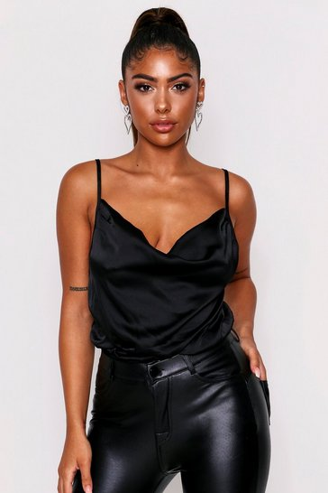 Womens Black Satin Cowl Neck Bodysuit