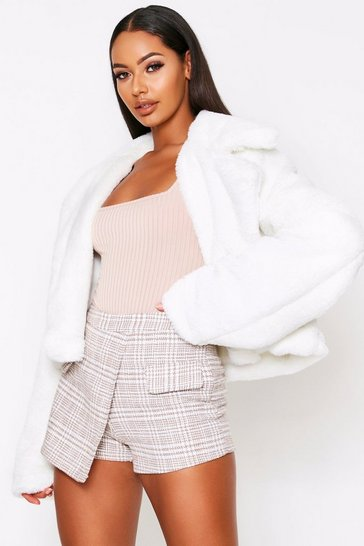 Womens Ivory Faux Fur Cropped Jacket