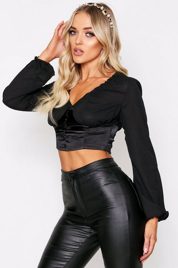 Womens Black Satin Button Front Ruched Top