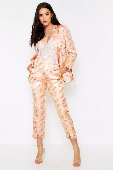 Cream Satin Jacquard Oriental Cigarette Trousers