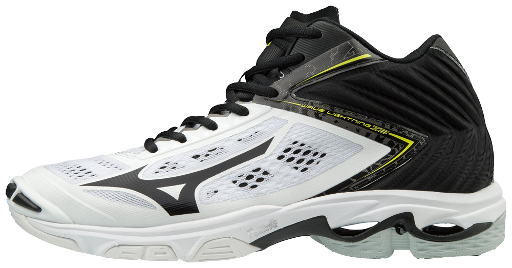 mizuno volleyball shoes half white half black mens