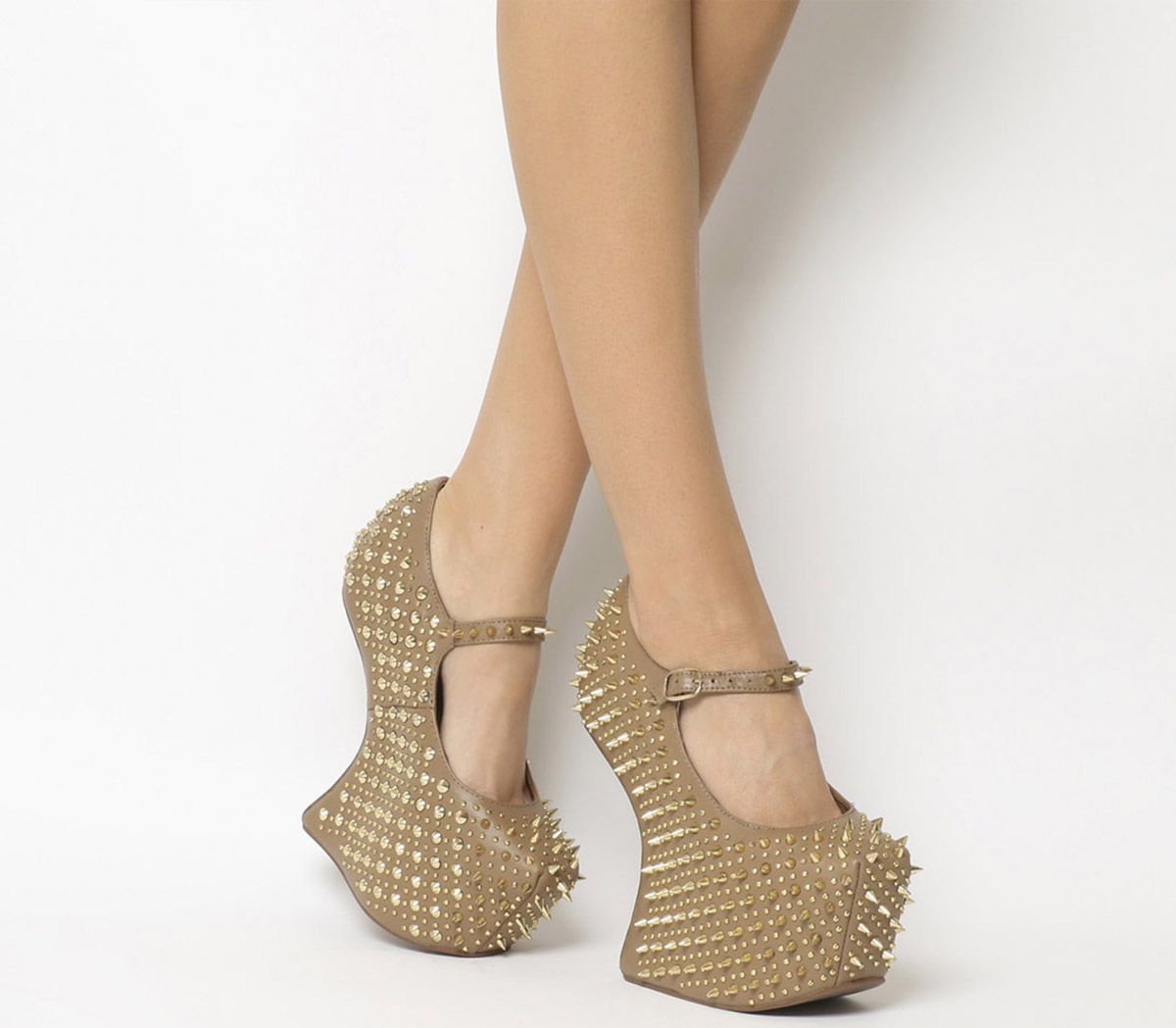 af688f813559 Jeffrey Campbell Prickly Wedge Taupe Leather Gold Spike - High Heels
