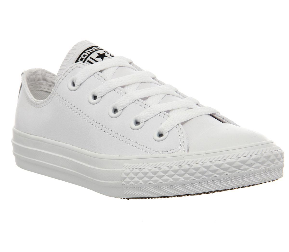 5634e311271f Converse All Star Ox Leather Kids White Mono - Unisex