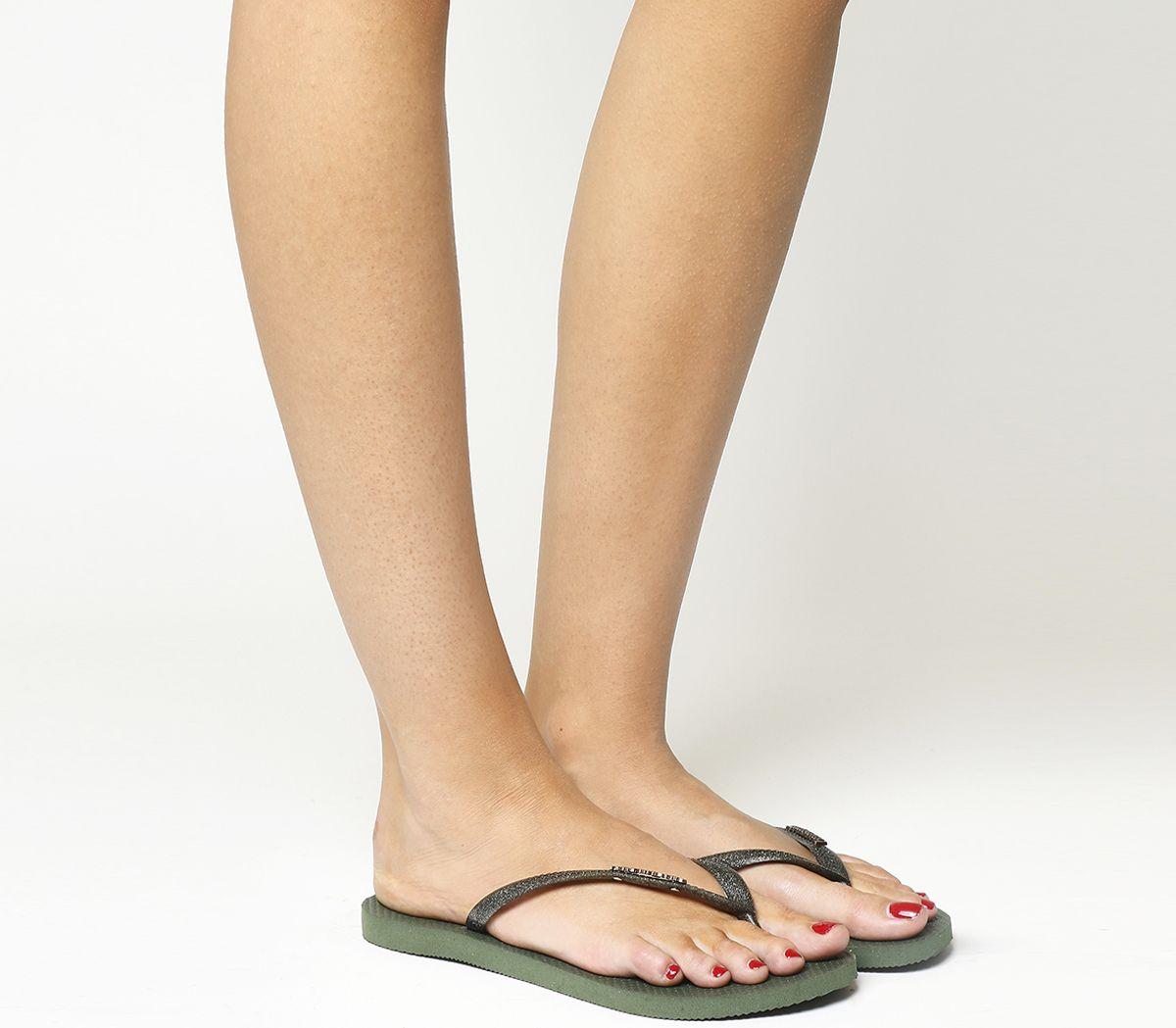 27a77b994 Havaianas Slim Logo Metallic Flip Flops Green Olive - Sandals