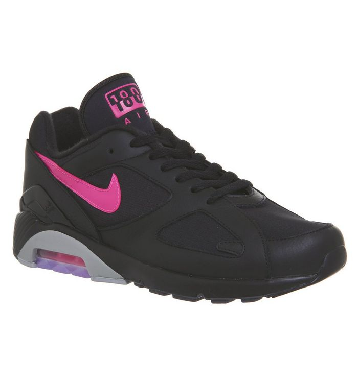 Nike Air Max 180 Trainers Black Pink Blast Wolf Grey His Trainers
