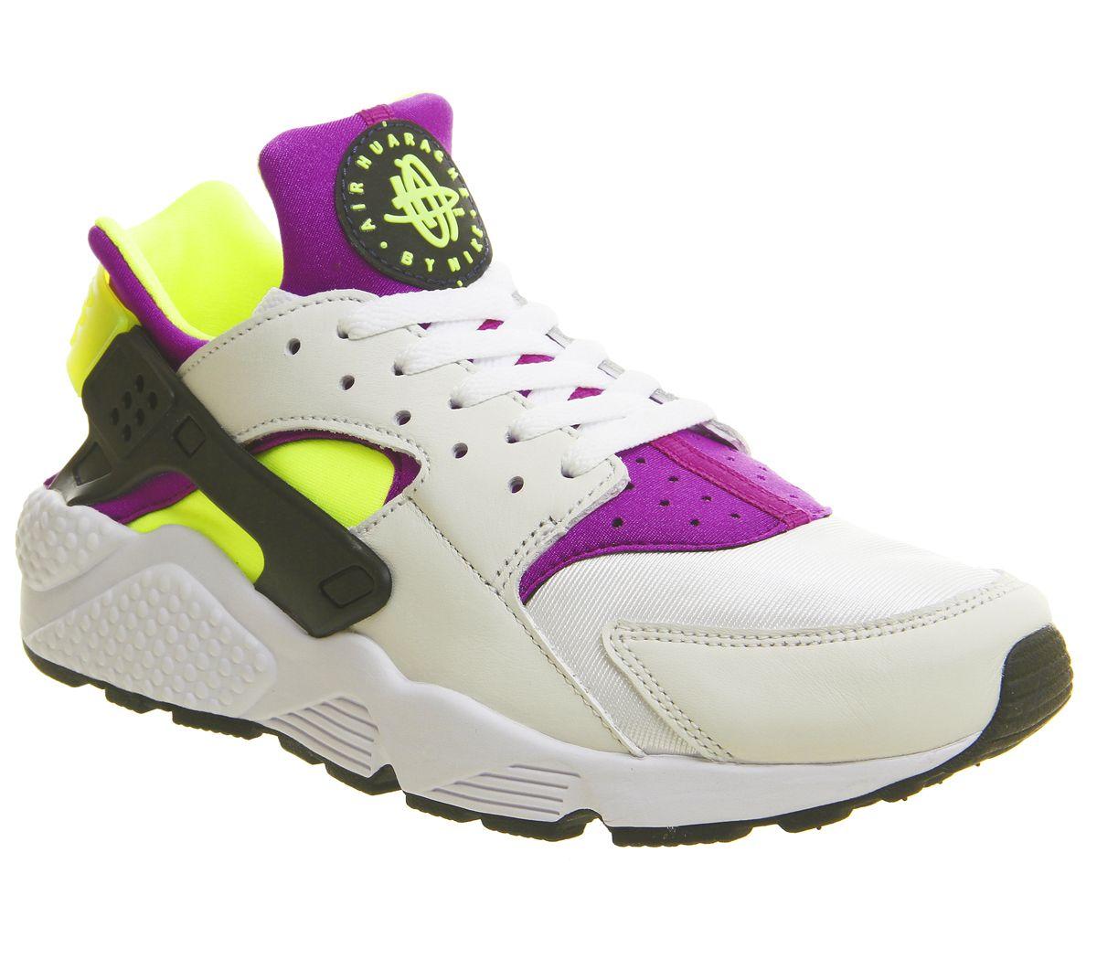 c52da3023c80c Nike Air Huarache Trainers White Black Neon Yellow Qs - His trainers