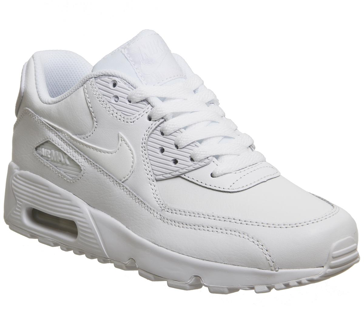 Nike Air Max 90 Leather Mesh Gs White Black Mens Trainers Sale UK