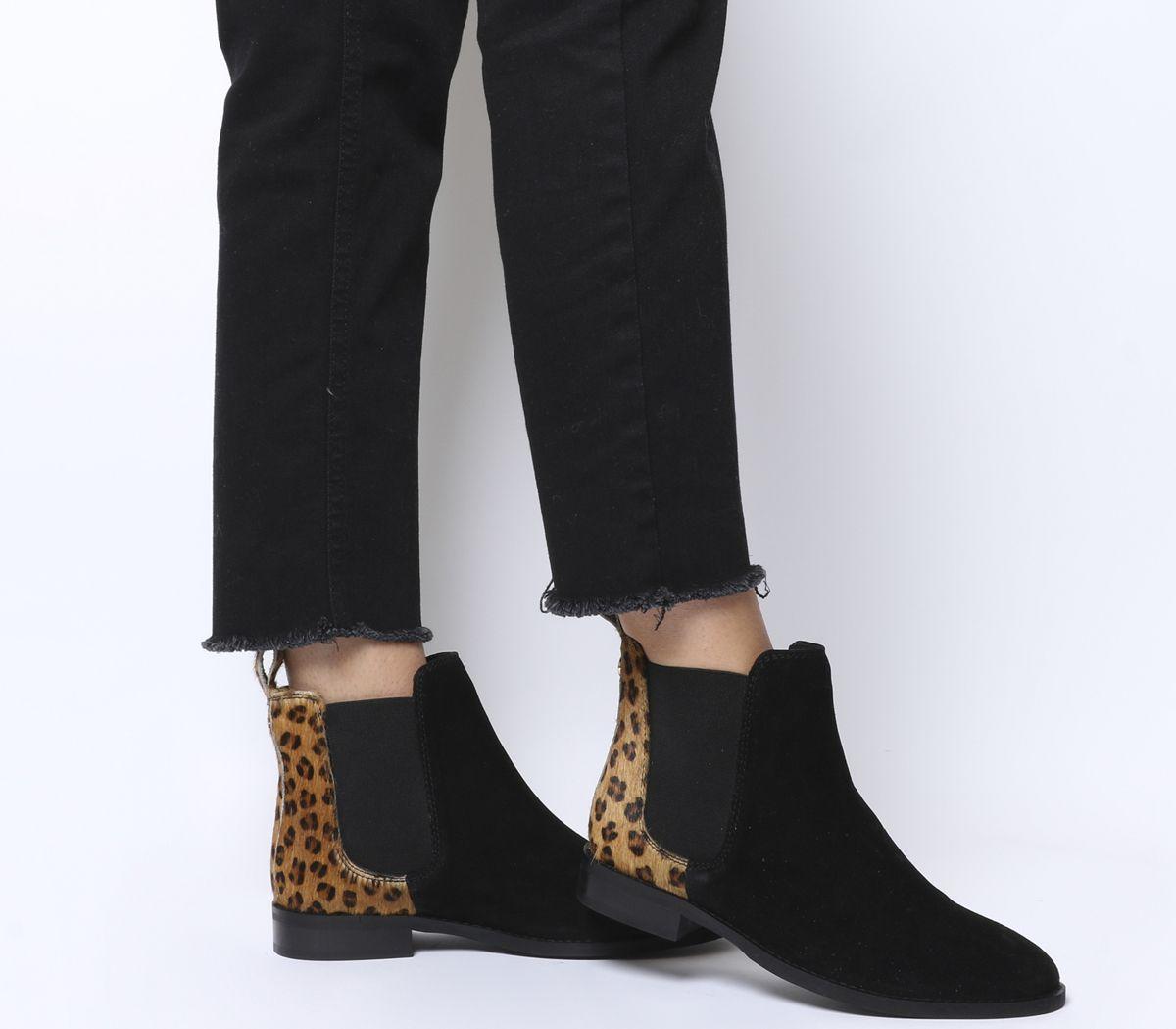 24d51888b0 Office Bramble Chelsea Boots Black Suede Leopard Cow Hair Mix ...