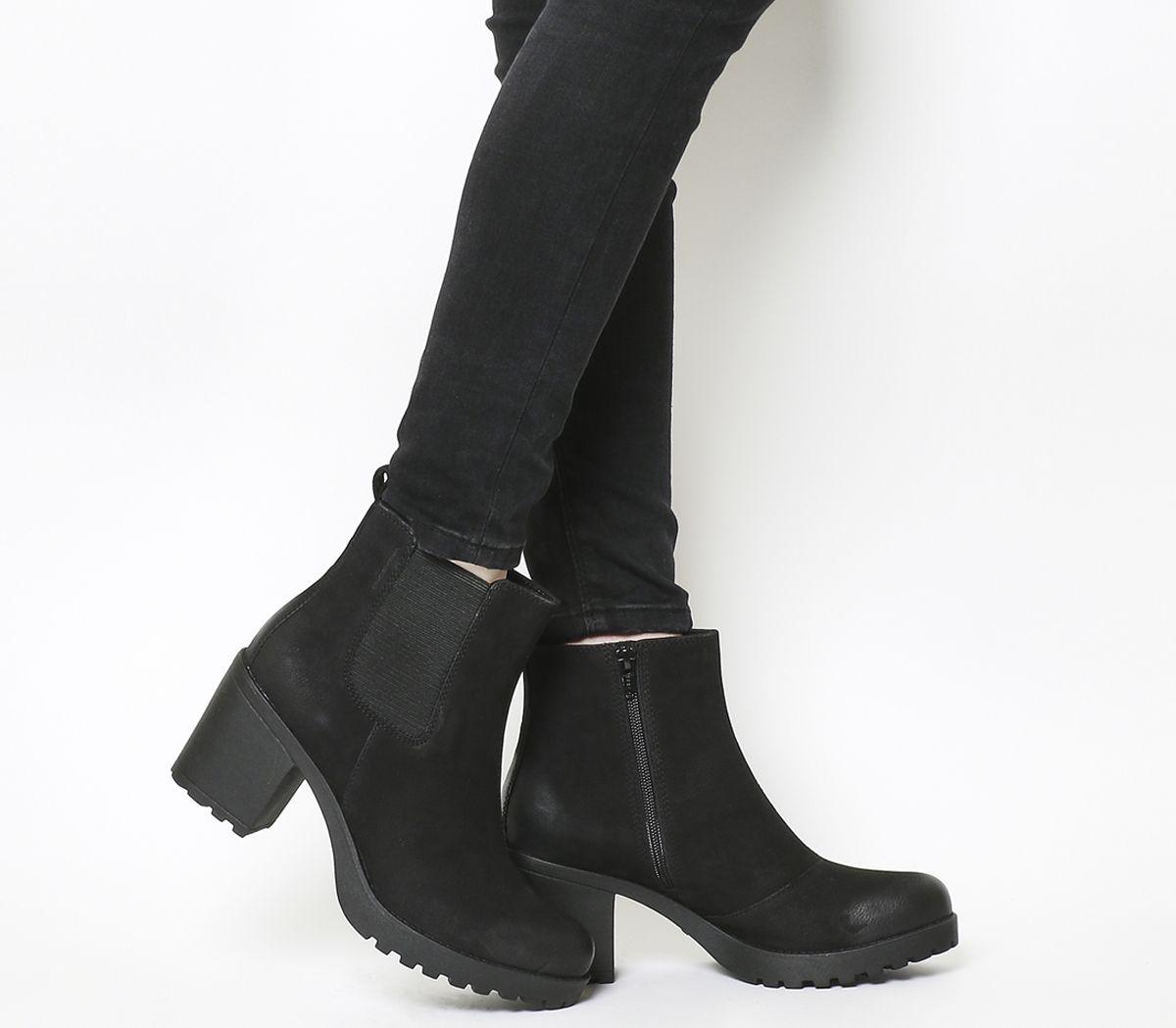 d2b3de2f5bf7e9 Vagabond Grace Heeled Chelsea Boots Black Nubuck - Ankle Boots