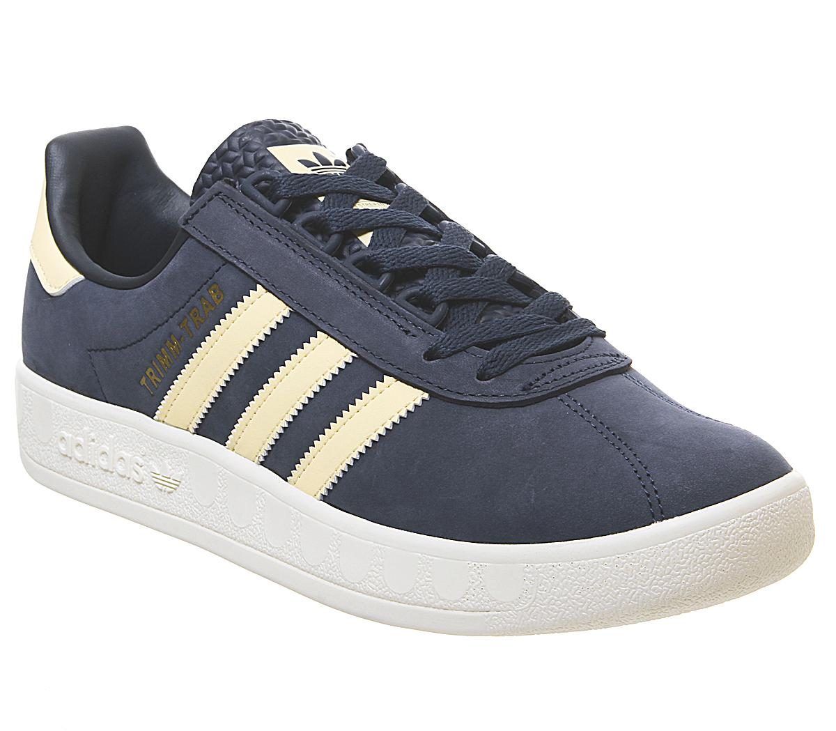vacunación Compositor peine  adidas Trimm Trab Trainers Collegiate Navy Easy Yellow Cream White - His  trainers