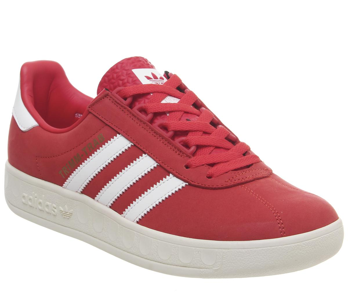 muelle orientación Atlas  adidas Trimm Trab Trainers Active Red White Gold - His trainers