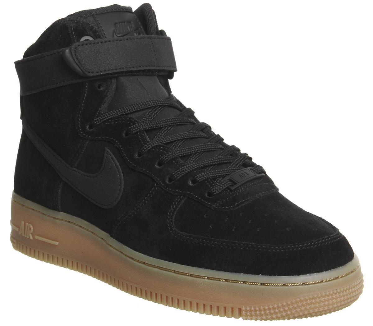 871c1eaf971ced Nike Air Force 1 Hi Trainers Black Black Gum - Hers trainers