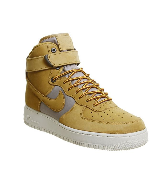 uk availability d3855 80823 ... Nike, Air Force 1 Hi Trainers, Monarch Wheat Gold Black ...