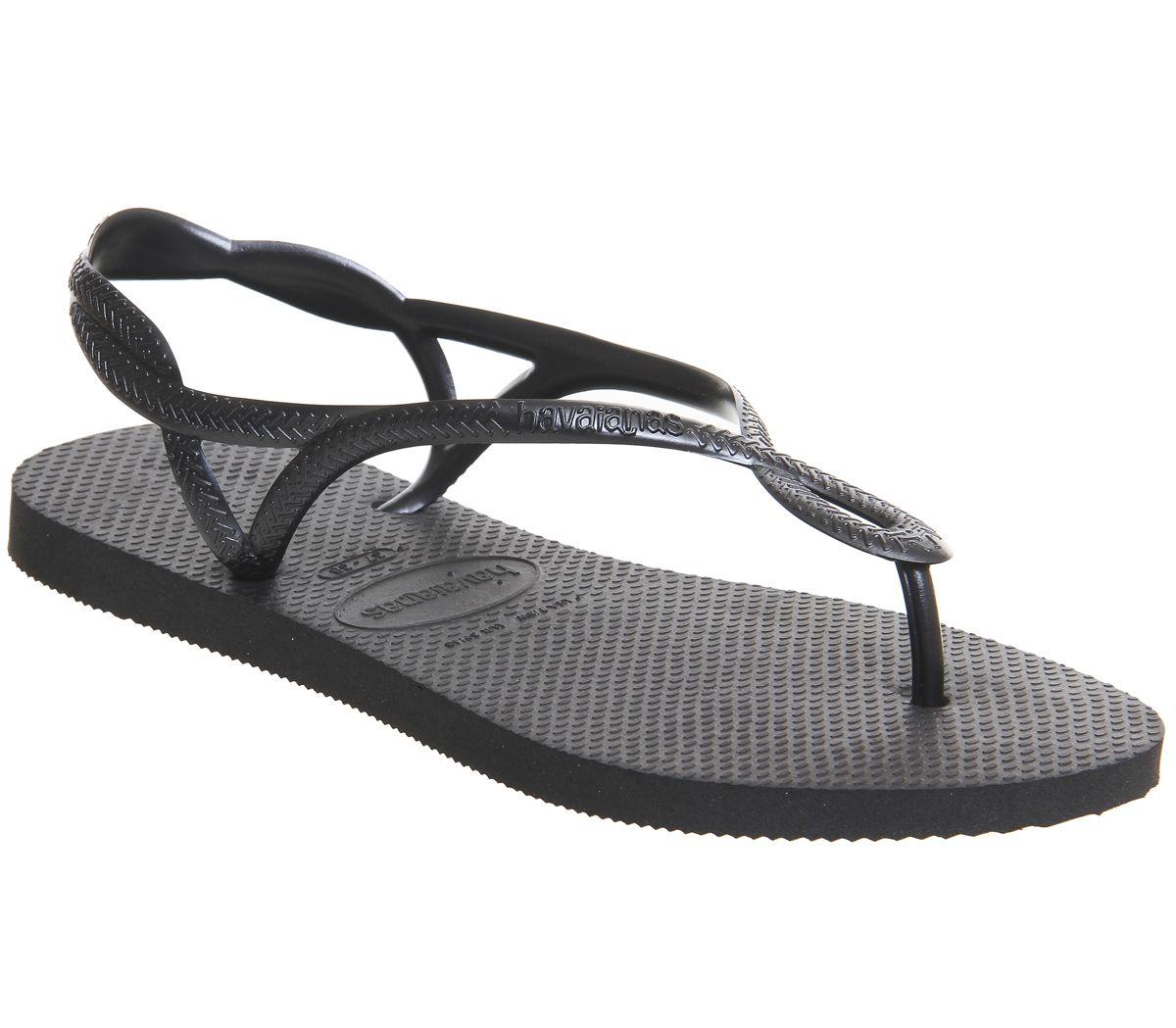614e10abb Havaianas Luna Flip Flops Black - Sandals