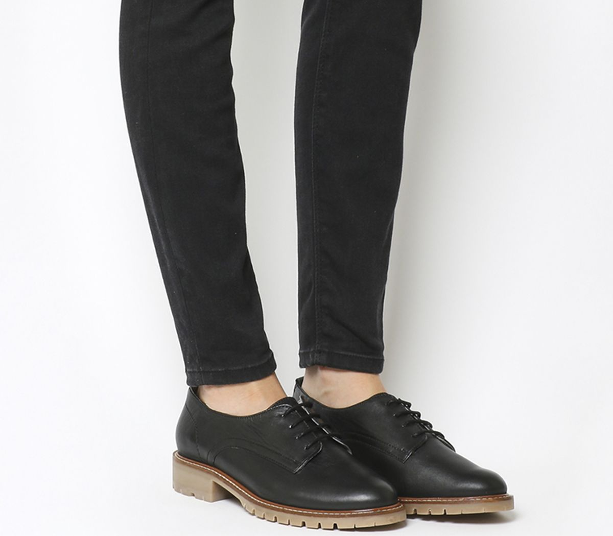 c8150da10bea81 Office Kennedy Lace Up Shoes Black Leather Gum Sole - Flats